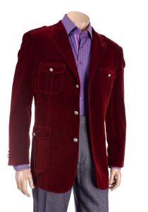 Inserch Burgundy Velvet Blazer With Shoulder Straps 569