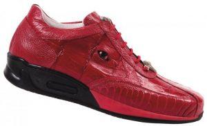 Mauri Arena M725 Red Genuine Baby Crocodile : Ostrich Leg Sneakers