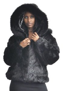 Winter Fur Ladies Black Pieces Mink Jacket With Detachable Hood