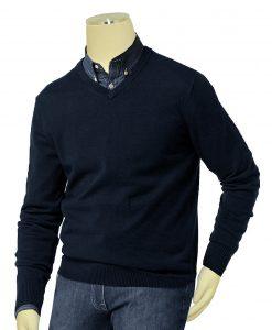 Bagazio Navy Blue V-Neck Sweater Shirt BM036