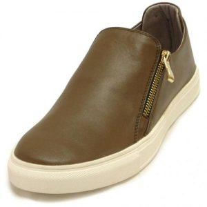 Encore By Fiesso Brown Casual Genuine Leather Sneakers With Zipper On Side FI4016-L