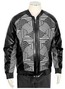 Silversilk Black : Grey : White PU Leather : Sweater Front Bomber Jacket