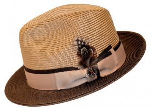 Bruno Capelo Camel : Brown Fedora Braided Straw Hat BC-621