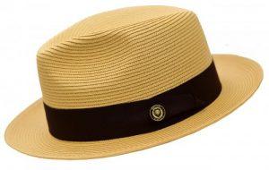 Bruno Capelo Natural Cream : Dark Brown Fedora Braided Straw Hat FN-824