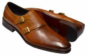 Carrucci Cognac Burnished Calfskin Leather Double Monk Strap Shoes Interview Shoes